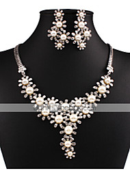MISSING U Women Vintage / Party Platinum Plated / Alloy / Rhinestone / Imitation Pearl Necklace / Earrings Jewelry Sets