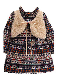 Girl's Blue / Multi-color / Red Dress,Stripes Cotton Winter / Spring / Fall