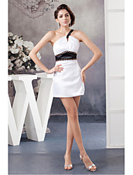 Cocktail Party Dress Sheath/Column One Shoulder Short/Mini Satin
