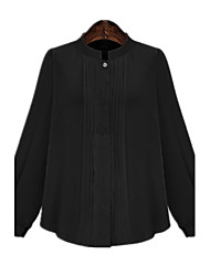 Spring Plus Sizes Women's Loose Pleated Round Neck Long Sleeve Casual Blouse Tops
