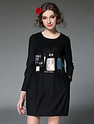 femmes aofuli robe 2016 europe cru patchwork broderie bande pleat élégante, plus lâche robe de taille