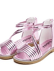 Girls' Shoes Outdoor / Casual Leatherette Sandals Summer Peep Toe Flat Heel Pink / Burgundy
