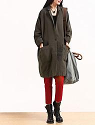 Manteau Femme,Couleur Pleine Sortie simple Manche Longues Col de Chemise Repasser à l'envers Coton Long Printemps Hiver