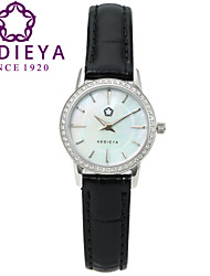 KEDIEYA Brand Watches Women Fashion Round Pearl Quartz Watch AAA Zircon Gems Dress Black Wrist Watches for Women