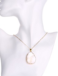 Agate stone necklace white natural crystal stone pendant necklace set 18k gold sweater Chain Necklaces for women N002-G