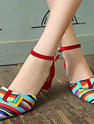 Mujer Zapatos Semicuero Primavera Verano Otoño Tacón Robusto Pajarita Combinación Para Casual Vestido Negro Rojo Azul