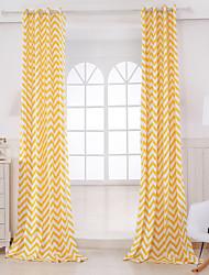 Two Panels Designer Stripe Orange Living Room Cotton Panel Curtains Drapes