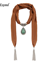 D Exceed Chiffon Winter Scarf Zinc Alloy Water Drop Pendant Scarf Necklaces For Women's Tassel Jewelry Scarves