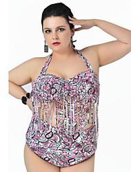 Tankinis Aux femmes Taille Haute / Franges Sans Armature Licou Polyester
