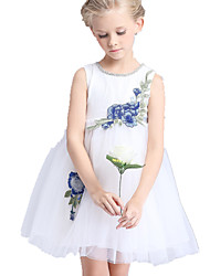 Girl's Dress,Polyester Summer White