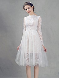 Knee-length Lace Bridesmaid Dress A-line High Neck with