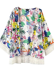 Women's Floral White Coat,Simple Long Sleeve Cotton