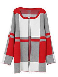Women's Striped Red Coat,Simple Long Sleeve Polyester