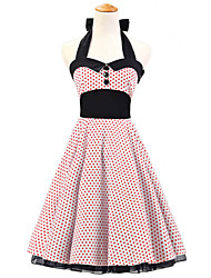 50s Era Vintage Style Halterneck Buttons Rockabilly Dress Cosplay Costume White Red Mini Polka Dot (with Petticoat)