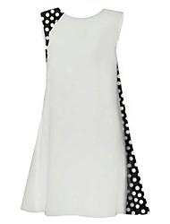Women's Casual/Daily Boho Chiffon Dress,Polka Dot Round Neck Above Knee Sleeveless White / Black Polyester Summer