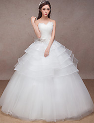 Princess Wedding Dress Floor-length Sweetheart Organza with Beading / Criss-Cross