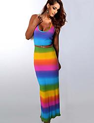 Women's Beach Sexy / Boho Sheath Dress,Rainbow Round Neck Maxi Sleeveless Multi-color Cotton / Rayon All Seasons