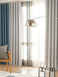 Dois Painéis Moderno Sólido / Patchwork Como na Imagem Sala de Estar Poliéster Blackout Cortinas cortinas