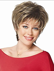 2015 New brown with Golden Blonde mixed lady Straight Short synthetic hair wigs