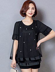 Women's Solid Pink / Black Blouse,Plus Szie Summer Leisure Chiffon Shirt, Round Neck ½ Length Sleeve