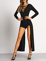 Women's Solid Red / Black Jumpsuits,Sexy / Casual / Day Deep V Long Sleeve