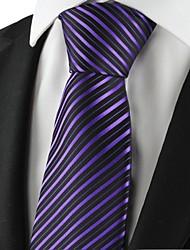Cravate(Noir / Violet,Polyester)Rayé