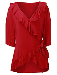 Women's Solid Red Blouse,V Neck Short Sleeve