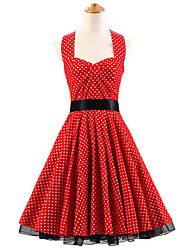 50s Era Vintage Style Halterneck Rockabilly Dress Cosplay Costume Red White Mini Polka Dot (with Petticoat)