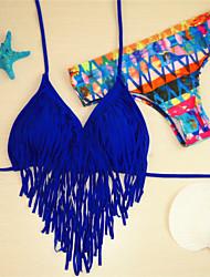 Women's Bandeau Bikinis,Tassels Padded Bras Nylon / Spandex Blue