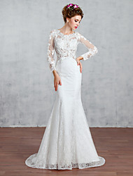 Trumpet/Mermaid Wedding Dress-White Court Train Jewel Lace / Tulle