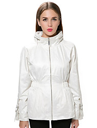 Women's Solid White Coat,Simple Long Sleeve Polyester