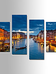 U2art®Landscape Canvas Print Night Scenery Four Panels Ready to Hang , Vertical For Living Room(No Frame)