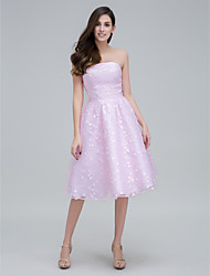 TS Couture® Cocktail Party Dress - Blushing Pink A-line Strapless Knee-length Lace
