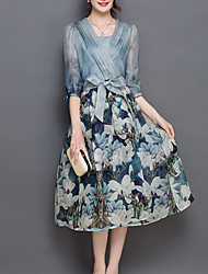 Women's Casual / Day Floral A Line Dress , V Neck Midi Polyester