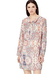 Women's Casual/Daily Simple Shirt Dress,Print Shirt Collar Above Knee Long Sleeve Beige Polyester Spring