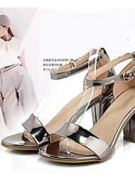 Women's Shoes Suede  Chunky Heel Heels / Peep Toe Sandals Casual Black / Purple / Silver / Multi-color