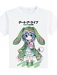 Inspirado por Date A Live Yoshino Animé Disfraces de cosplay Cosplay de la camiseta Estampado Blanco Manga Corta Abrigo