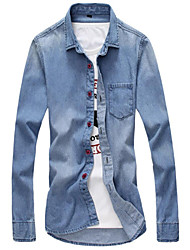 M-3XL Brand Fashion High QualityMen's Solid Long Sleeve Denim shirts Top, Casual / Sport Jeans
