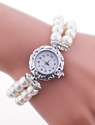 Женские Модные часы Часы-браслет Кварцевый Plastic Группа Жемчуг Элегантные часы Белый Синий Красный Розовый