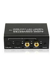 2TOSLINK SPDIF+2COAXIAL to TOSLINK+L/R RCA+3.5mm Audio Switch Converter CE FCC RoSH Certified