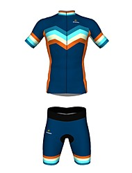 MYKING Men's Cycling Bike Short Sleeve Clothing Set Bicycle Wear Suit Jersey and Shorts Rainbow