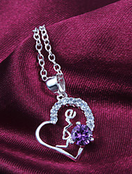 "2016 Noble Simple ""LOVE"" Heart Fashion Silver Necklace Pendant For Women"