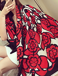 Spring Fashion Chinese Red Large Flower Double-sided Printed Silk Scarf Cotton Oversized Shawl