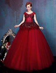 Princesa Vestido de Boda Vestidos Novia en Color Hasta el Suelo Cuchara Encaje / Tul conFlor / Encaje / Perla / Apliques / Cuentas /