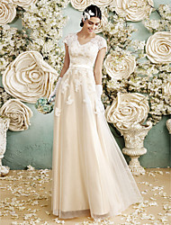 A-line Wedding Dress Floor-length V-neck Satin / Tulle with Appliques