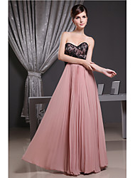 Floor-length Chiffon Bridesmaid Dress - A-line Sweetheart with Draping / Lace