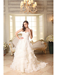 A-line Wedding Dress Court Train Sweetheart Organza / Satin with Appliques / Beading / Ruffle