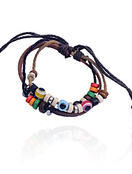 Vintage Style Eyeball  Bead  Leather Bracelet