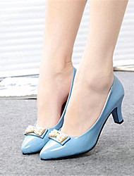 Women's Shoes Leatherette Spring / Fall Heels Outdoor / Casual Chunky Heel Bowknot / Imitation Pearl Black / Blue / White