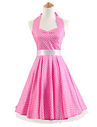 50s Era Vintage Style Halterneck Rockabilly Dress Cosplay Costume Pink White Mini Polka Dot (with Petticoat)